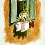"""D25 """"femme à la fenêtre"""" coll.part."""
