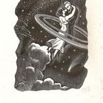 """GV7 gravure d'llustration de  roman """"l'anneau de saturne"""" 11 x 14 cm"""