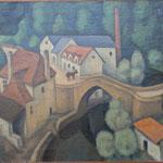 """HT92 """"Baussac """" 1921, huile sur toile 46 x 55 cm"""