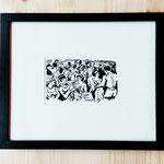 """""""la fête"""" 8, 5 x 13, 5 cm reproduction numérique: 70€ encadré"""