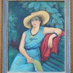 """HT1 """"Femme en bleu"""", huile sur toile encadré d'origine, 47 x 38 cm"""