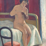 """HT75 """"Nu à la chaise rouge"""" huile sur toile 33 x 46 cm"""