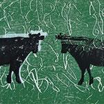 les vaches_2, Monotypie 2015, 14x12