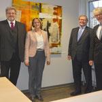 Eröffnung des Gerichts 11.12.2017 (v.l.n.r: Frank Bechtold, Dr. Irmgard Kellendorfer (Präs. Sozialgericht Würzburg), Joachim Vetter (Präs. Landesarbeitsgericht Nürnberg), Dr. Ekkehardt Hein (Dir. Arbeitsgericht Würzburg)