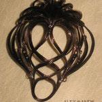 Украшение - ВАЛИК - РАКУШКА - постиж, шоколадный (из Натуральных Волос)