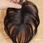 Теменная Накладка на Пробор - постиж, тёмно-русый, прямые волосы