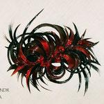 ЗАКОЛКА - постиж, рубиновая (из натуральных волос)