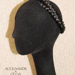 Ажурная КОСА на резинке, накладная коса - постиж, чёрный, из натуральных волос