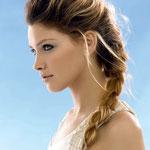 Причёска с КОСОЙ-имитацией - причёска с постижем, мелирование, золотистые оттенки