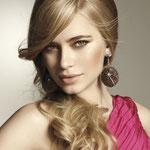 Причёска с ЛОКОНОМ-имитацией - причёска с постижем, светло-русый золотистый