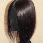 Теменная Накладка на силиконе - постиж, шатен коричневый, прямые волосы