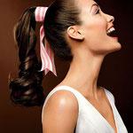 Причёска с ХВОСТОМ на резинке - причёска с постижем, тёмно-русый