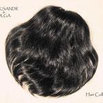Объёмая РЕЗИНКА из Волос, шиньон-резинка, постиж, чёрные прямые волосы