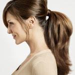 Причёска с Резинкой из Волос, русые прямые волосы