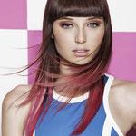 Причёска с ПРЯДКАМИ color на заколках - причёска с постижем, красные оттенки