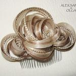 ГРЕБЕНЬ для ВОЛОС - постиж, светлый блонд, мелирование (из натуральных волос)