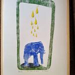 """"""" Das Leben ist schön."""" Handabzug, Vierfarbdruck, und handkoloriert. Blatt 50X70 cm. Mit Rahmen (Holz) 52,4X72,4 cm.  m.R. 130€.   o. R. 110€"""