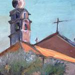 """Kirche im Hinterland (Ligurien)""  35 x 30 cm  Oel auf Holz  300.- Euro m.R."