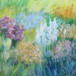 """Blumengarten"" ; 40 x 40 cm ; Acryl auf Leinwand; 320.- Euro"