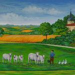 Le village de Gaujan - Peinture murale pour la salle du conseil municipal - 1 m X 3 m