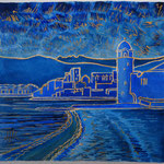 Collioure bleu et or - 15X15 cm - disponible