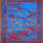Poissons rouges - 54 x 77 cm . Disponible