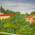 Village de Gaujan - Peinture murale pour la salle du conseil municipal - détail : 1m x 1m.