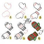 Einfach malen zeichnen - Bullet Journal und Sketchnotes - Doodles - How to draw - Malvorlage - Schritt-für-Schritt-Anleitung - Handschuhe gloves