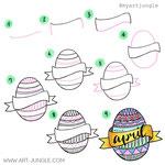 Einfach malen zeichnen - Bullet Journal und Sketchnotes - Doodles - How to draw - Malvorlage - Schritt-für-Schritt-Anleitung - Osterei