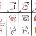 Bullet Journal und Sketchnotes - Doodles - How to draw - Malvorlage - Anleitung - Notizen