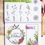 Bullet Journal und Sketchnotes - Doodles - How to draw - Malvorlage - Anleitung - Blumenrahmen