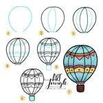 Einfach malen zeichnen - Bullet Journal und Sketchnotes - Doodles - How to draw - Malvorlage - Schritt-für-Schritt-Anleitung - Hotair balloon