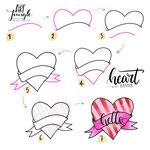 Einfach malen zeichnen - Bullet Journal und Sketchnotes - Doodles - How to draw - Malvorlage - Schritt-für-Schritt-Anleitung - Heart Banner - Herz Banner