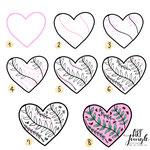 Einfach malen zeichnen - Bullet Journal und Sketchnotes - Doodles - How to draw - Malvorlage - Schritt-für-Schritt-Anleitung - Heart watercolor
