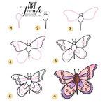 Einfach malen zeichnen - Bullet Journal und Sketchnotes - Doodles - How to draw - Malvorlage - Schritt-für-Schritt-Anleitung - schmetterling