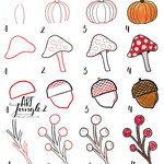 Bullet Journal und Sketchnotes - Doodles - How to draw - Malvorlage - Anleitung - Herbst