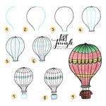 Einfach malen zeichnen - Bullet Journal und Sketchnotes - Doodles - How to draw - Malvorlage - Schritt-für-Schritt-Anleitung - Heißluftballon