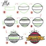 Einfach malen zeichnen - Bullet Journal und Sketchnotes - Doodles - How to draw - Malvorlage - Schritt-für-Schritt-Anleitung - Weihnachtskugel