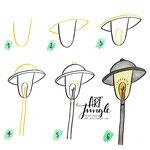 Einfach malen zeichnen - Bullet Journal und Sketchnotes - Doodles - How to draw - Malvorlage - Schritt-für-Schritt-Anleitung - Straßenlaterne