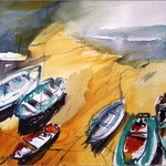 Boote im Sand (Aquarell)