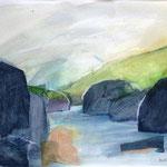 Isländisches Wasser 7 (Mixed Media)