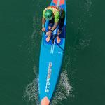 SUP Race. SUPoint Teamfahrer Patrik Peier paddelt mit Starboard SUP Board.