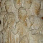 Rechts sitzt Kaiphas mit dem Gesetzbuch und verurteilt Jesu.