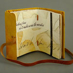 Tasting Time (2008) intaglio, collage, relief and watercolor, leather wrapper is embossed and painted goatskin with a fore edge flap and wrapping band, unique, 5 x 3.25 inches, Seeley G. Mudd Library, Lawrence University