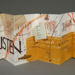 Letters Never Sent 2 (1996) pigmented pulp painting, monotype, letterpress, collage, edition of two, 5 x 14 x 1.5 inches displayed