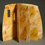 Openings (2015) paste painted paper, handwriting, wire-edge binding, 8.75 x 10 x 6.75 inches, Public Library of Cincinnati and Hamilton County