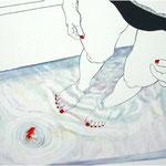 """無題""""No title""""(束芋、町田久美からの影響を受け試作)2006,68.6×89.1cm,Acrylic colors on panel"""