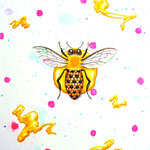 """The Bee-polka dots""2013,18×14cm,Acrylic colors on canvas"