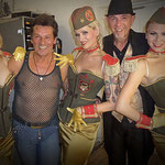 "The Continentals 2015 / Backstage of ""Schlachthof Theater"" / Richard Rigan, Mike Roth and the nice ladies of Blonde Bomshell Burlesque / Photo: Andrea Roth"