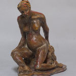 """Seated Model""-Clay with Oil Paint  and Wax Patina"